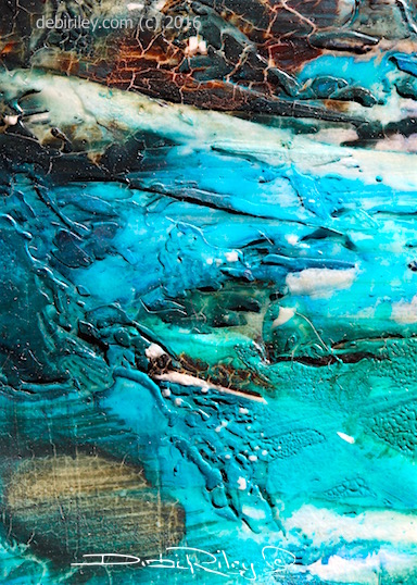 Ohanapecosh River abstract painting, teal glacier water, debi riley watercolor art