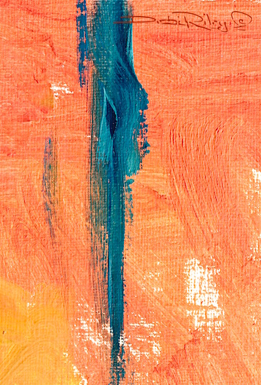 strelitzia blue, oil painting abstract in blue and orange, debi riley art