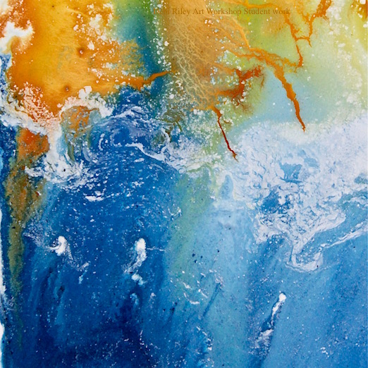 watercolor abstract, blue and orange, earth from above, debi riley art