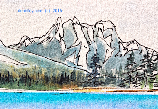 watercolors with ink, mountain landscape, doodlewash.com, #worldwatercolormonth, debiriley.com