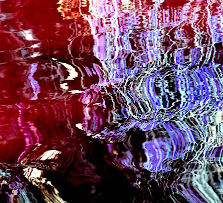 digital painting in red wine colors, with purple reflections, debi riley art