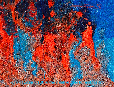 watercolor cadmium red abstract on board, creativity, debiriley.com