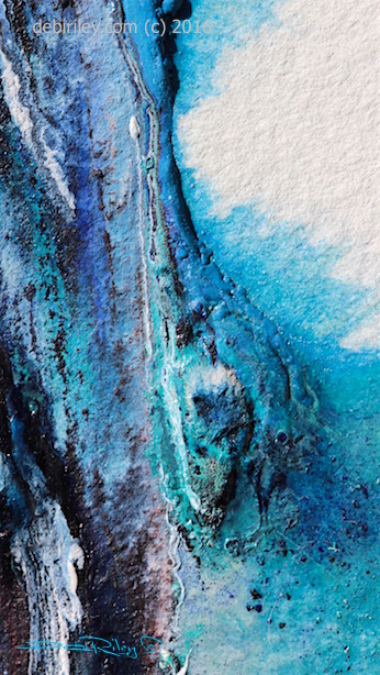 #worldwatercolormonth, abstract painting cobalt teal, debiriley.com