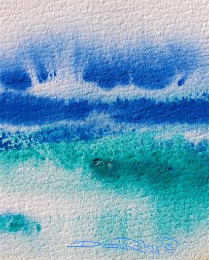 crashing sea spray waves in watercolors, debiriley.com
