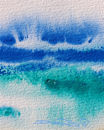 crashing sea spray waves in watercolors, debiriley.com