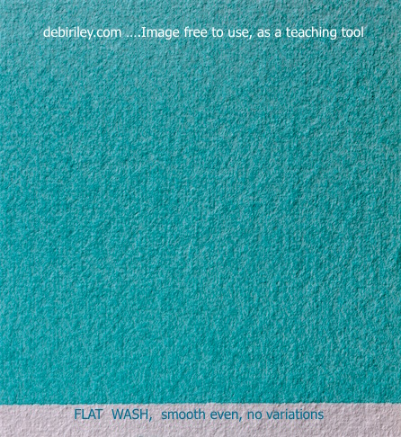 watercolor beginners techniques, flat wash, cobalt teal blue pg50, debiriley.com