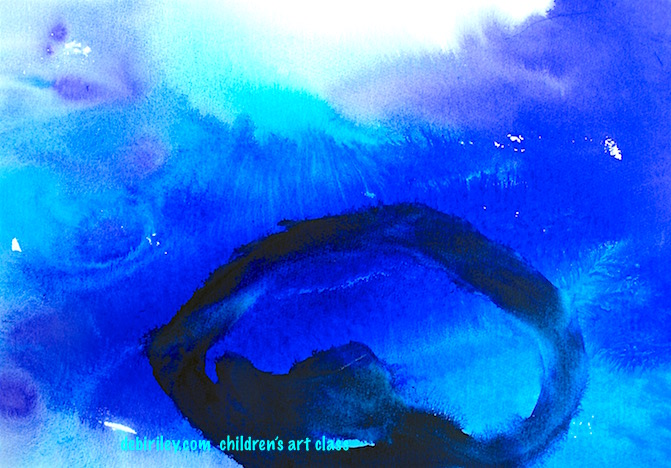 Undersea Watercolors, abstract watercolor in blue, debiriley.com, art class