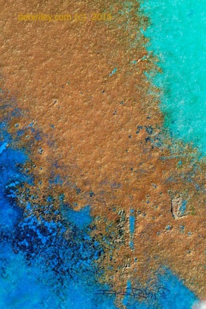 Prussian blue teal abstract watercolor painting, debiriley.com
