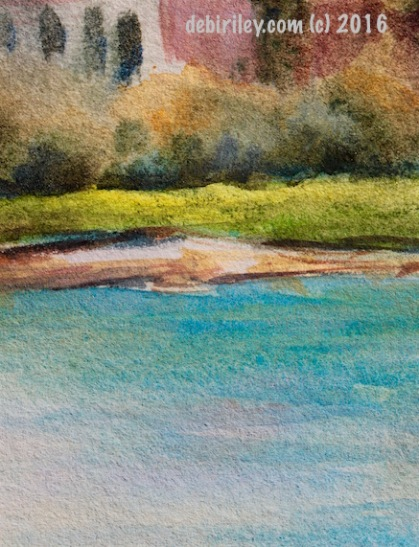 watercolor landscape, teal and lime, debiriley.com