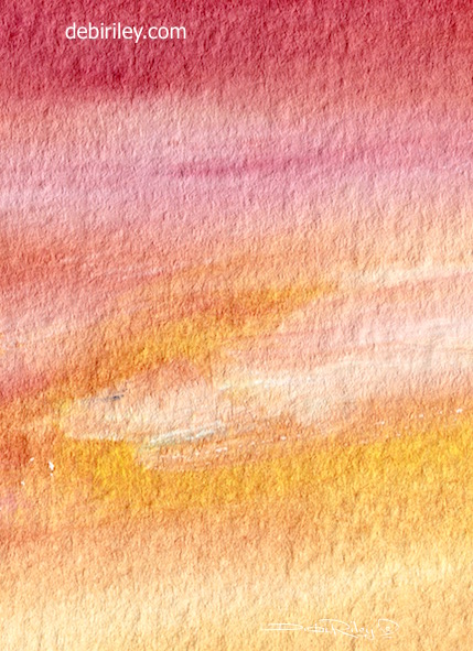 watercolor landscape, sunset techniques for beginners, variegated wash, debiriley.com