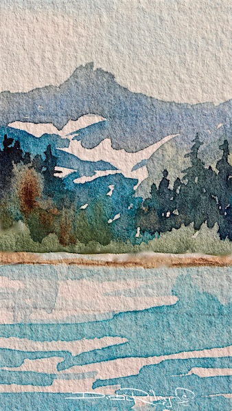 Impressionist watercolor landscape, mountain landscape watercolor, cobalt teal blue water, prussian blue foliage greens, debiriley.com