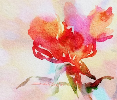 a rose in watercolor, debiriley.com