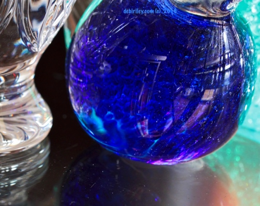 ultramarine glass reflections, creative still life art photograph, debiriley.com