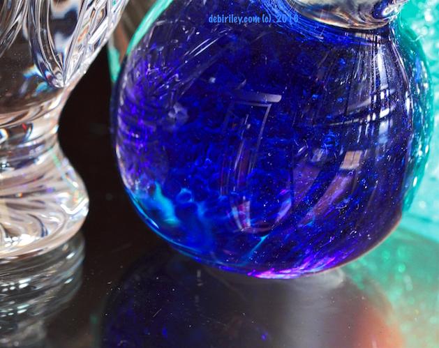 ultramarine glass reflections, creative still life art photograph, debiriley.com
