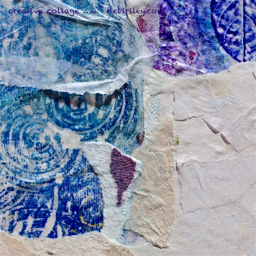 creative collage, blue and purple papers, debiriley.com