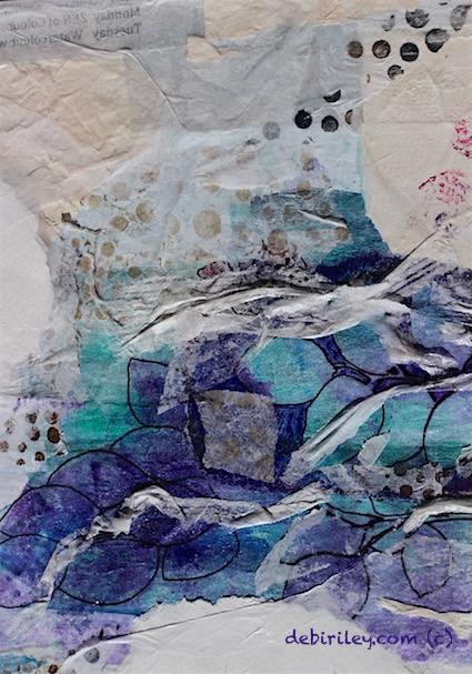 collage, paper layers, blue, green, debiriley.com