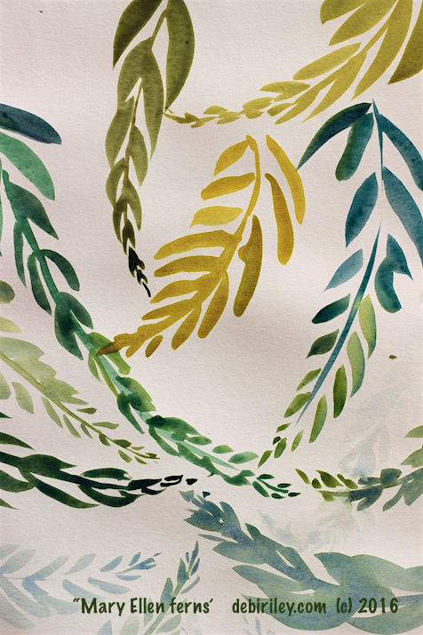 watercolor fern foliage greens, meaning of Green, debiriley.com