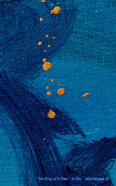 prussian blue oil abstract painting, debiriley.com