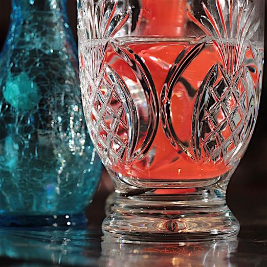 colored glass, orange pineapple design, debiriley.com