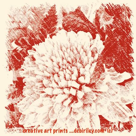 indian red floral antiqued digital print, debiriley.com