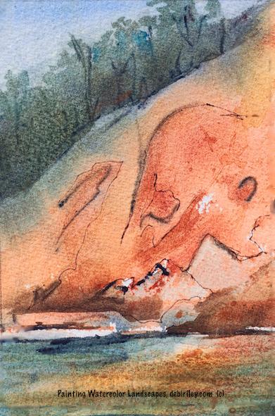 watercolor landscape river, Western Australia outback, debiriley.com