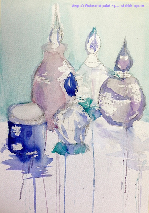 how to paint glass in watercolors, creative, loose and fresh painting watercolor of glass bottles, students work, debiriley.com