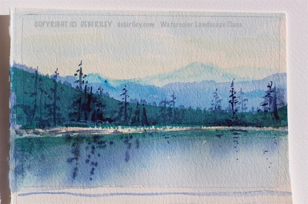 impressionist watercolor landscape, tree reflections and mountains, debiriley.com