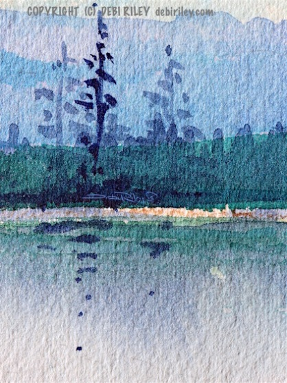 watercolor landscape, fir trees reflections, blue green water, debiriley.com