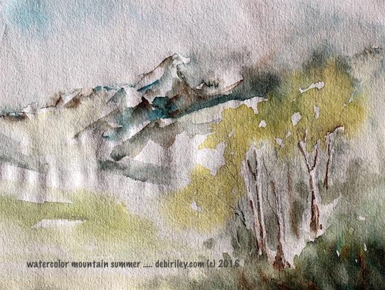 watercolor impressionist landscape, mountain in summer, debiriley.com