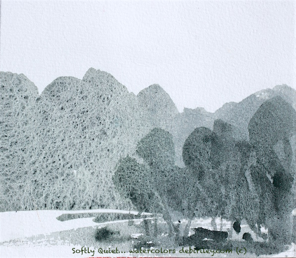 watercolor landscape, monochrome, greens, calm and relaxed, debiriley.com