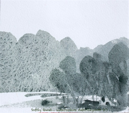 watercolor landscape, monochrome, greens, calm and relaxed, debiriley.com
