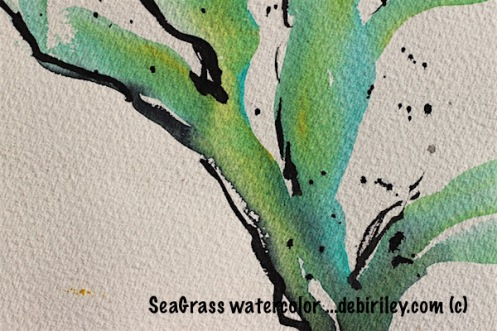 watercolor greens, sea grass impressionist painting with inks, debiriley.com