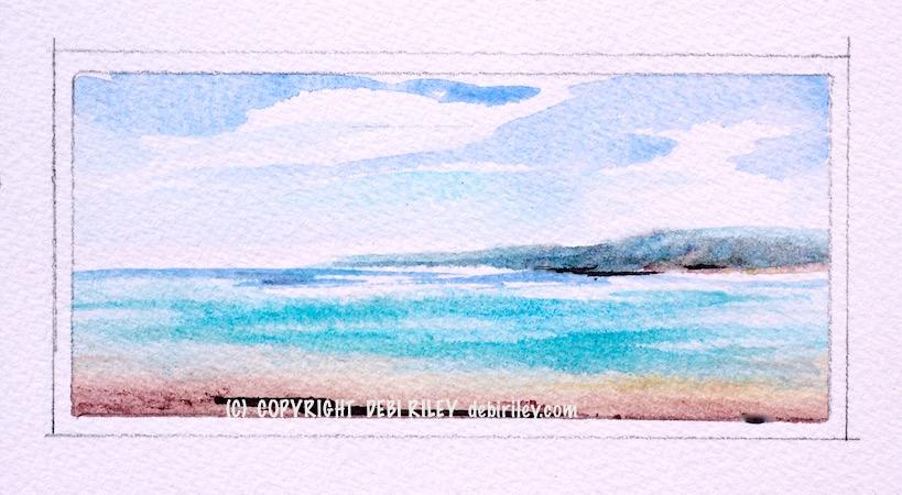 watercolor ocean plein air, cobalt teal blue sea art, debiriley.com