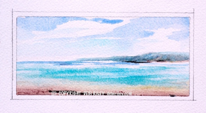 watercolor ocean plein air, cobalt teal blue sea art, debiriley.com