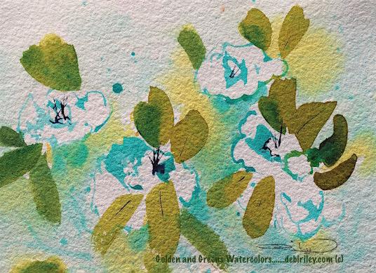 azalea greens watercolor impressionist painting, debiriley.com