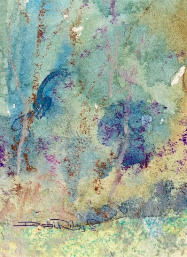 woodland foliage watercolor, oil pastel texture, debiriley.com
