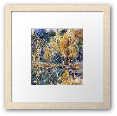 autumn color, framed watercolor pastel print, impressionist landscape, autumn color