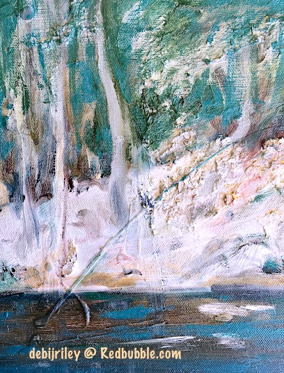 forest painting, dreamy impressionist landscape, oil landscape, tree paintings, emerald greens, Redbubble.com art, soft paintings in greens, debiriley.com