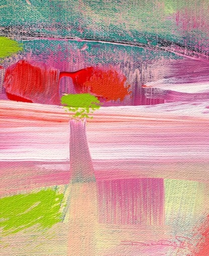 pink, scarlet, lime acrylic abstract, debiriley.com