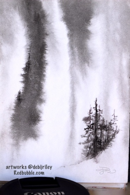 #inktober, ink drawings, watercolor and ink, paintings of waterfalls, nature journal in inks, debiriley.com