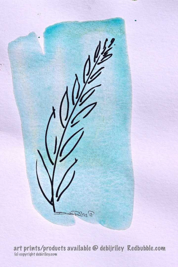 fern design watercolor, fern abstract art, zen painting, debiriley.com