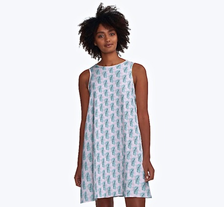 fern pattern dress, white and cobalt teal fern pattern, debiriley.com
