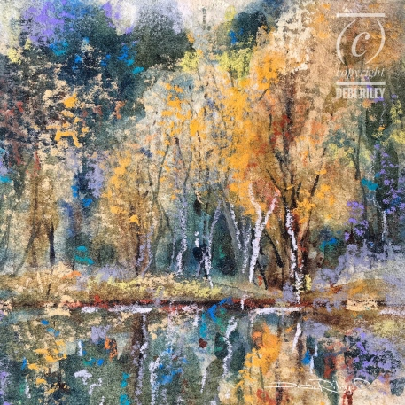 Autumn Color watercolor landscape, how to fix a watercolor painting, fall tree colors, debiriley.com