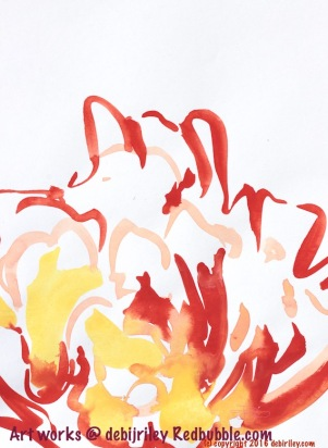 red impressionist flower, watercolor painting abstract, scarlet red drawing, drawing with a brush, debiriley.com