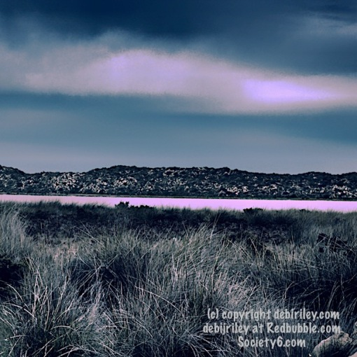 digital painting print, pink lake, debijriley Redbubble.com, pink and grey palette