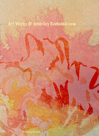 watercolor abstract, digital art painting, scarlet and gold painting, debiriley.com