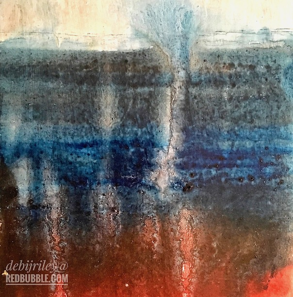 mixed media on board, rich colors, scarlet and indigo, debiriley.com
