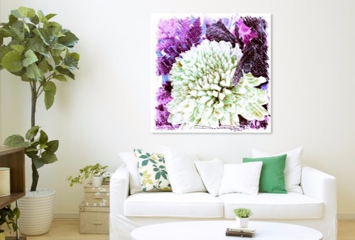 bright, colorful floral purple, wall art, vintage home decor, debiriley.com