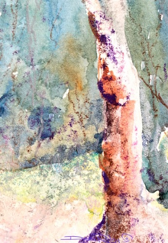 watercolor landscape, oil pastel texture, debiriley.com