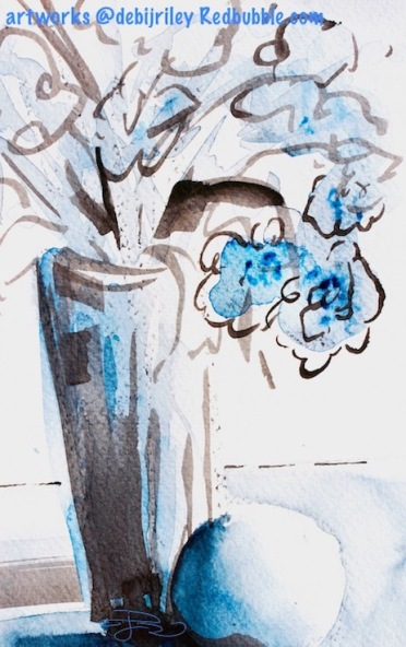 inktober, blue watercolor still life, ink and watercolor, debiriley.com